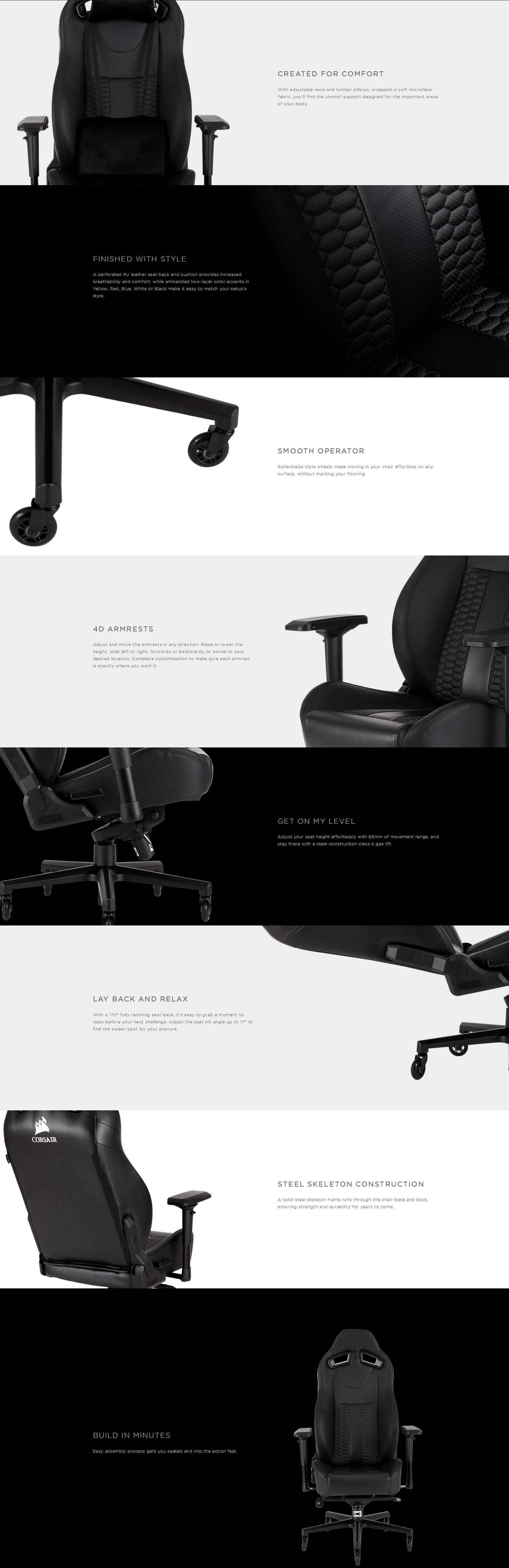 Tremendous Corsair T2 Road Warrior High Back Office Gaming Chair Black Black Camellatalisay Diy Chair Ideas Camellatalisaycom