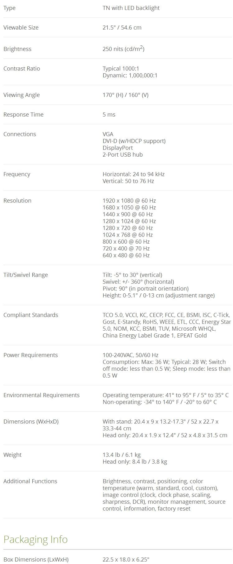 Refurbished HP LA2206x 21 5'' FHD 1920x1080 5ms 1000:1