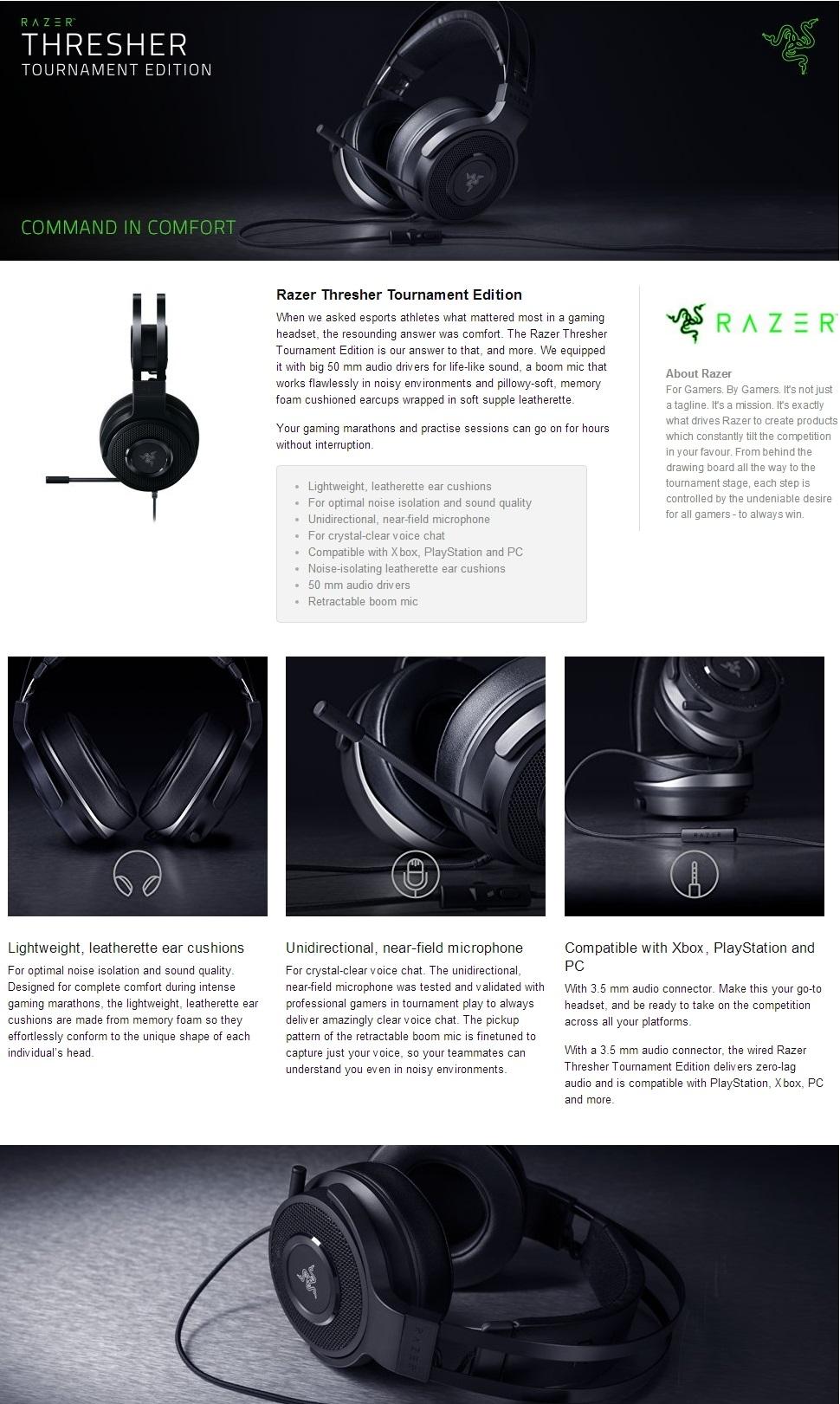 Razer Thresher Tournament Edition Wired Gaming Headset - FRML ...